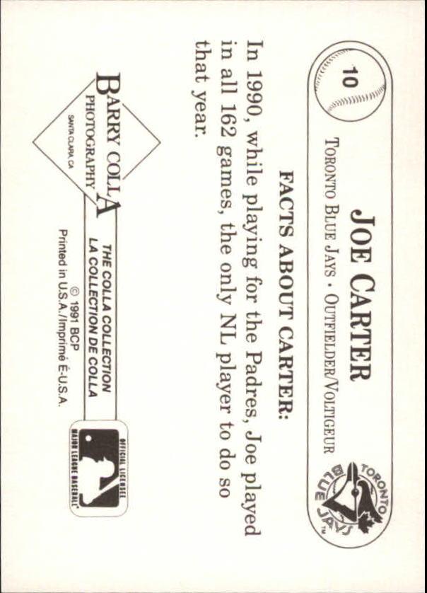 1991 Colla Joe Carter #10 Joe Carter/Batting helmet in hand back image