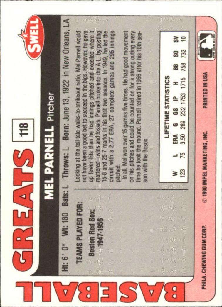 1991 Swell Baseball Greats #118 Mel Parnell back image