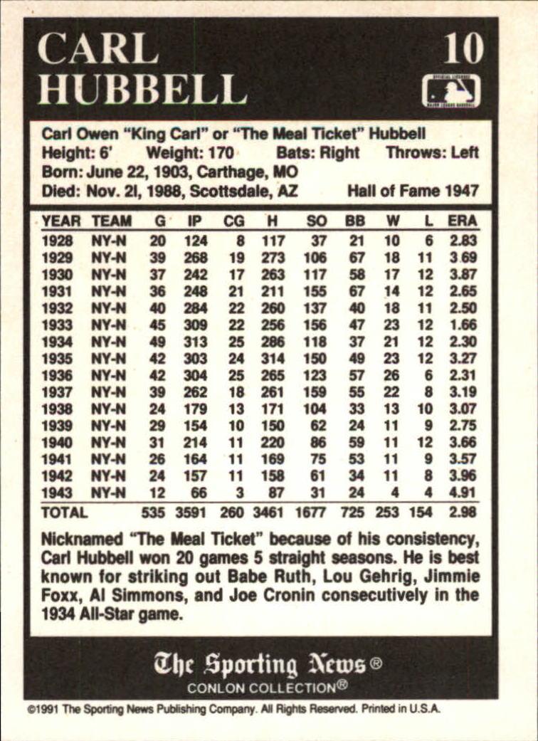 1991 Conlon TSN #10 Carl Hubbell HOF back image