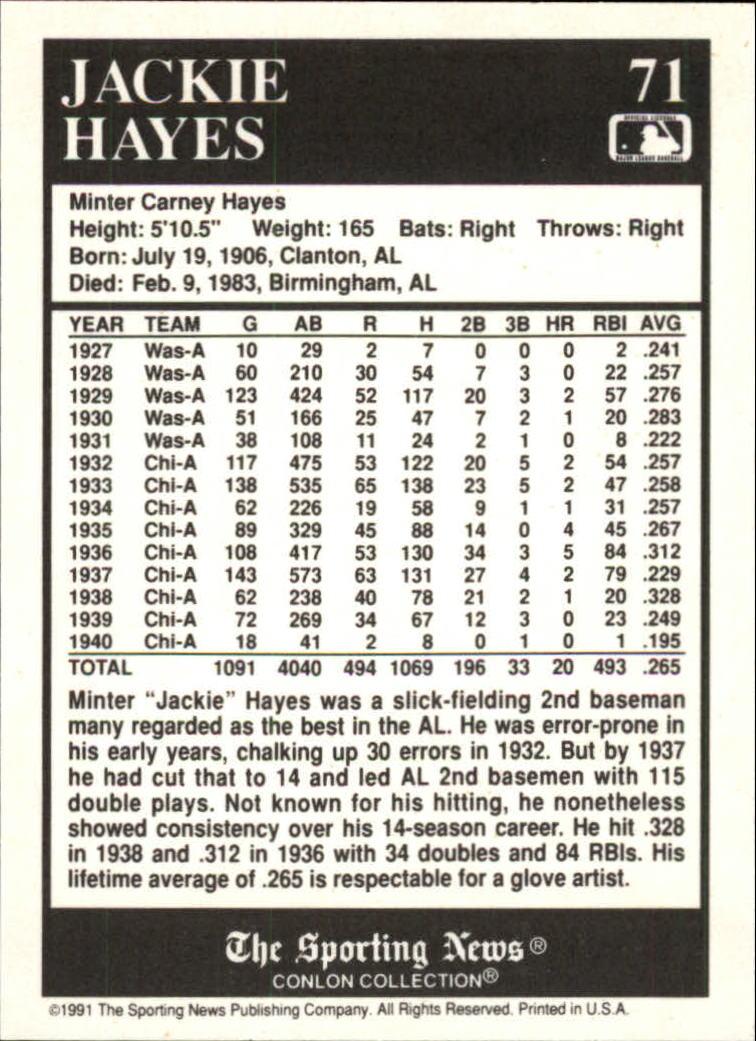 1991 Conlon TSN #71 Jackie Hayes back image