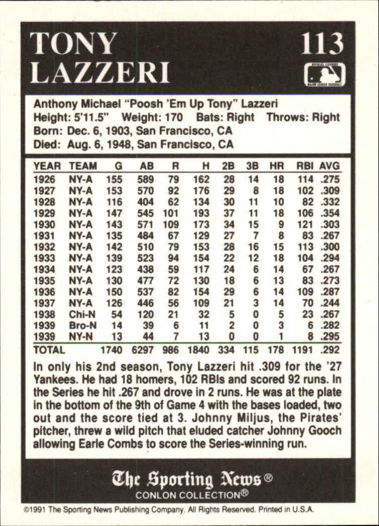 1991 Conlon TSN #113 Tony Lazzeri '27NY back image