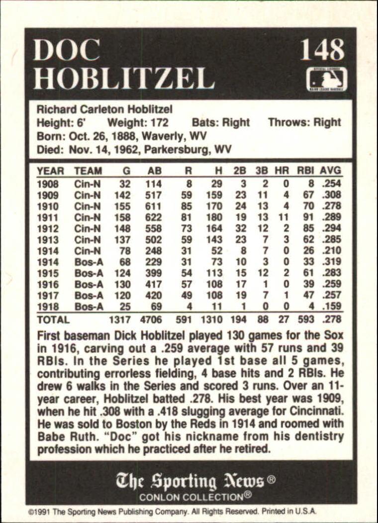 1991 Conlon TSN #148 Doc Hoblitzel/'16 Champs back image