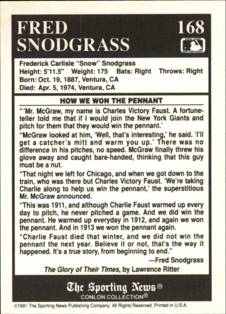 1991 Conlon TSN #168 Fred Snodgrass Story back image