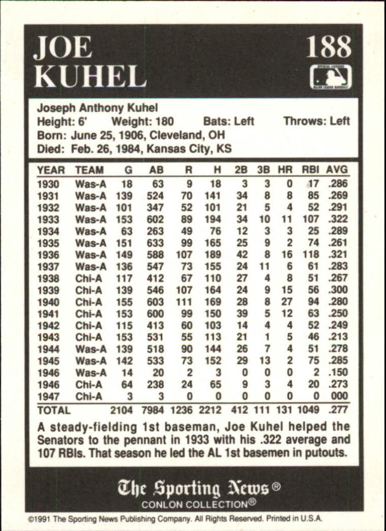 1991 Conlon TSN #188 Joe Kuhel back image