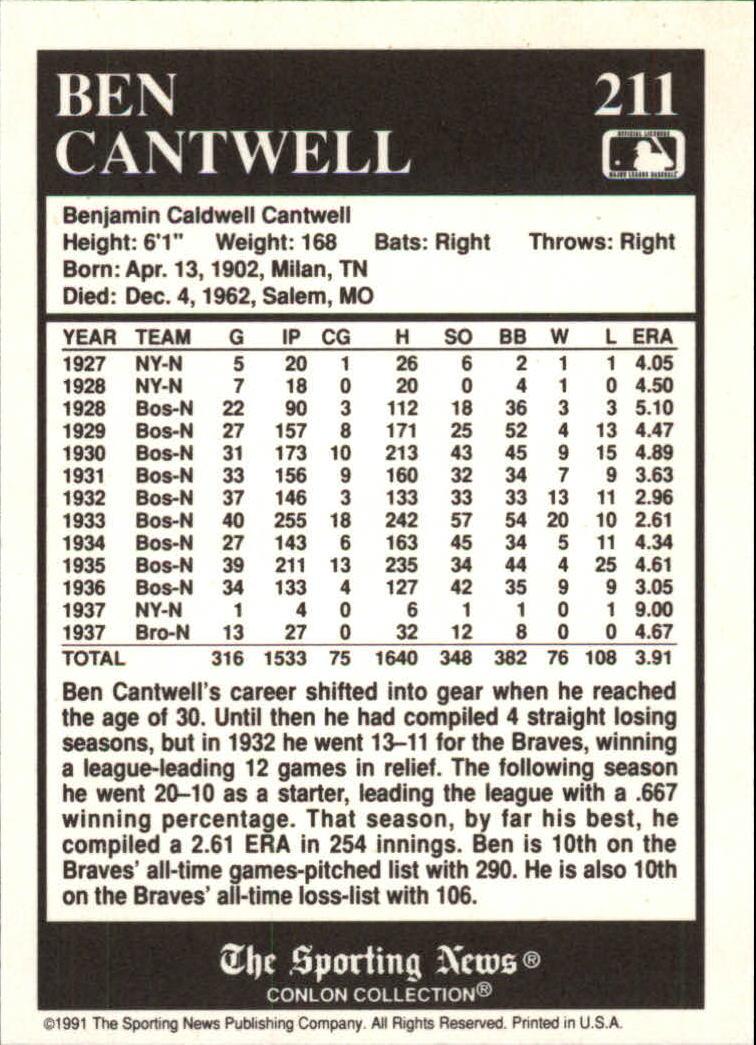 1991 Conlon TSN #211 Ben Cantwell back image