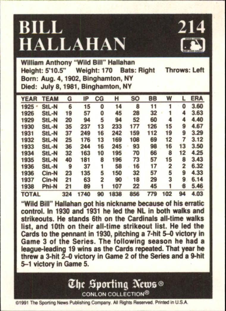 1991 Conlon TSN #214 Bill Hallahan back image