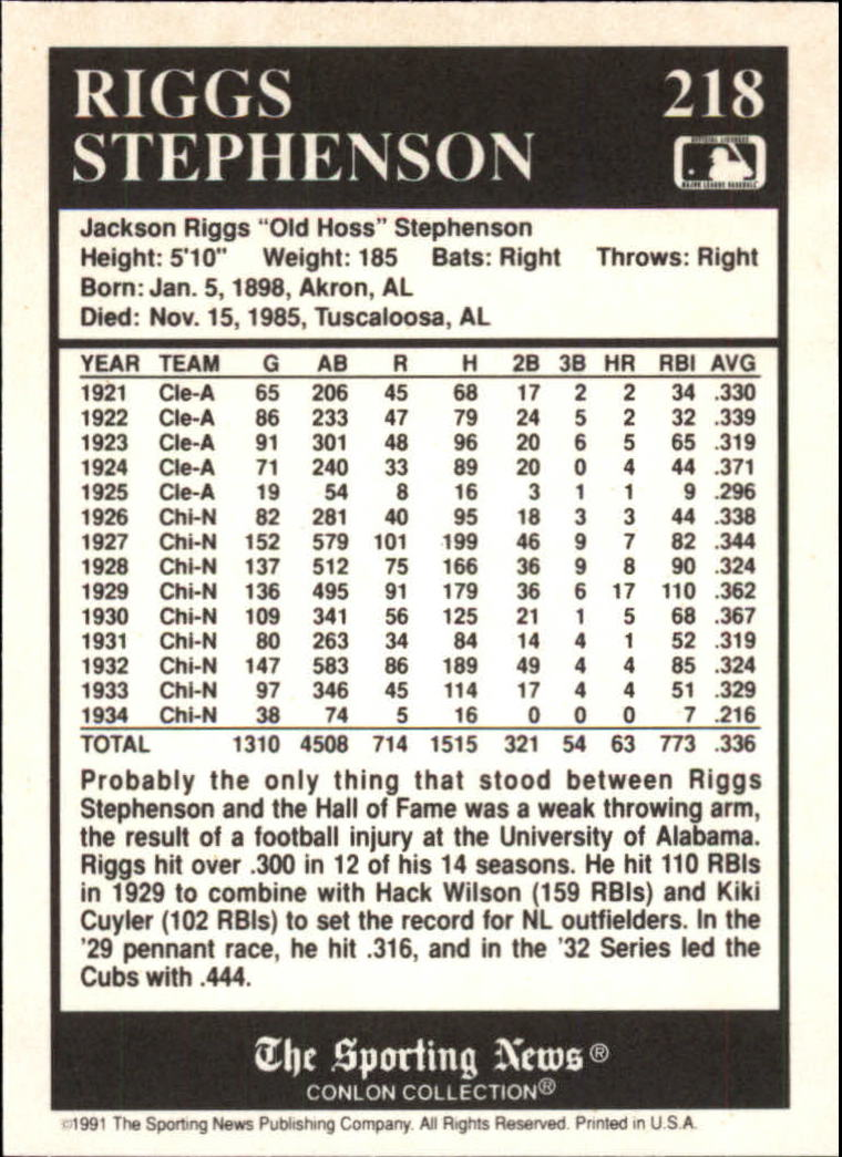 1991 Conlon TSN #218 Riggs Stephenson back image