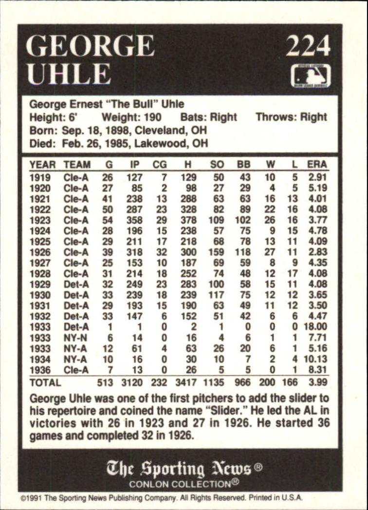 1991 Conlon TSN #224 George Uhle back image