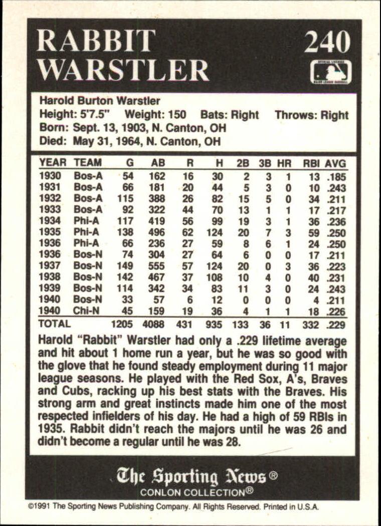 1991 Conlon TSN #240 Rabbit Warstler back image