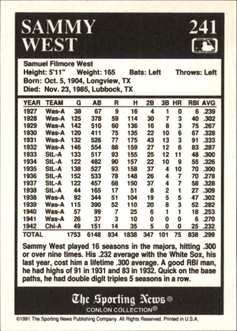 1991 Conlon TSN #241 Sammy West back image