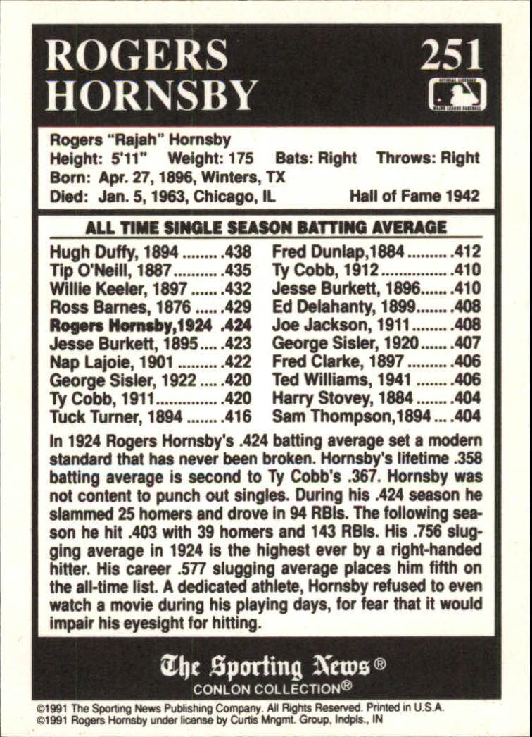 1991 Conlon TSN #251 Rogers Hornsby ATL back image