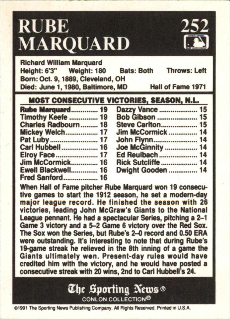 1991 Conlon TSN #252 Rube Marquard ATL back image