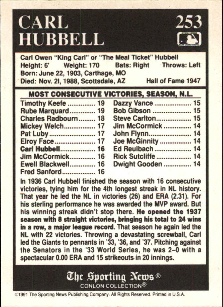 1991 Conlon TSN #253 Carl Hubbell ATL back image