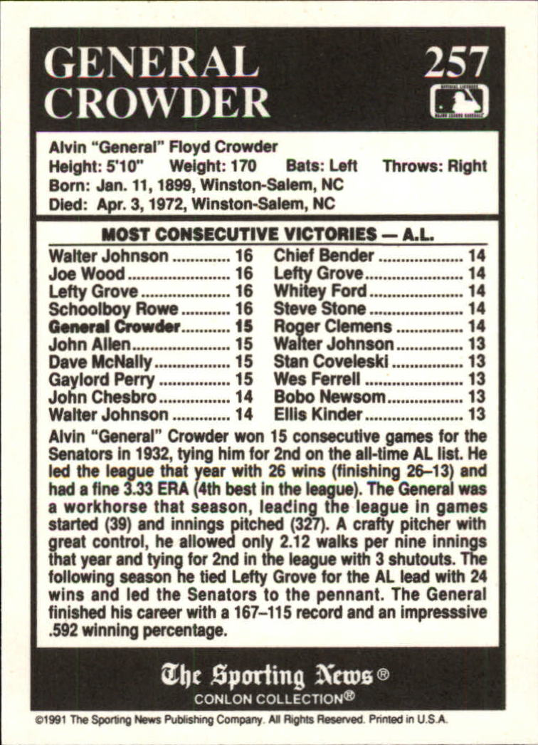 1991 Conlon TSN #257 General Crowder ATL back image