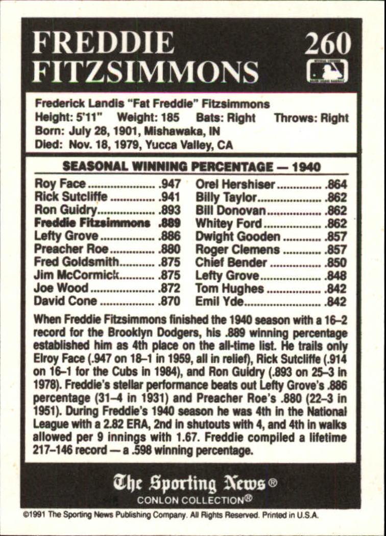 1991 Conlon TSN #260 Fred Fitzsimmons ATL back image