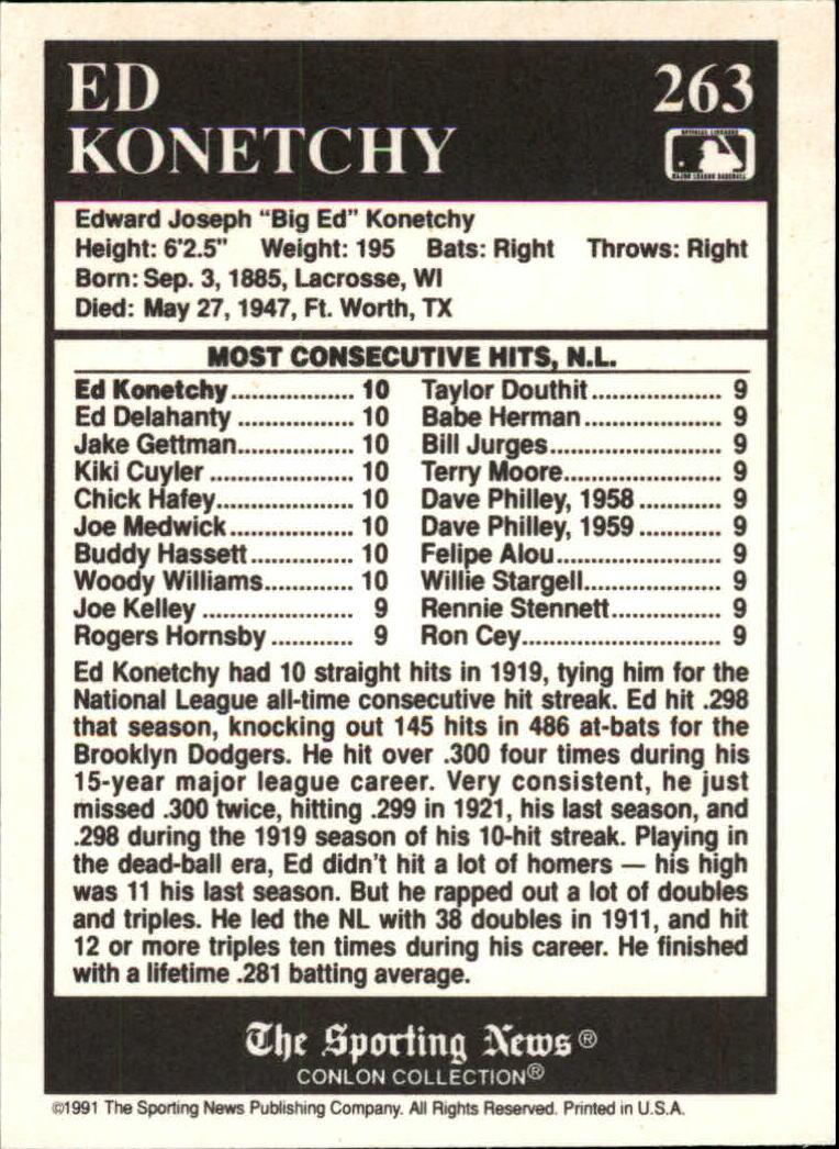 1991 Conlon TSN #263 Ed Konetchy ATL back image