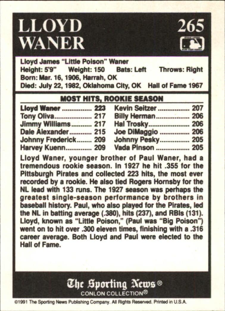 1991 Conlon TSN #265 Lloyd Waner ATL back image