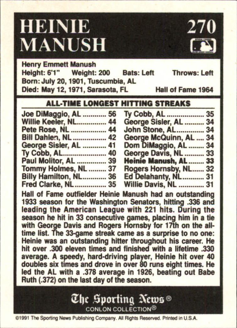 1991 Conlon TSN #270 Heinie Manush ATL back image