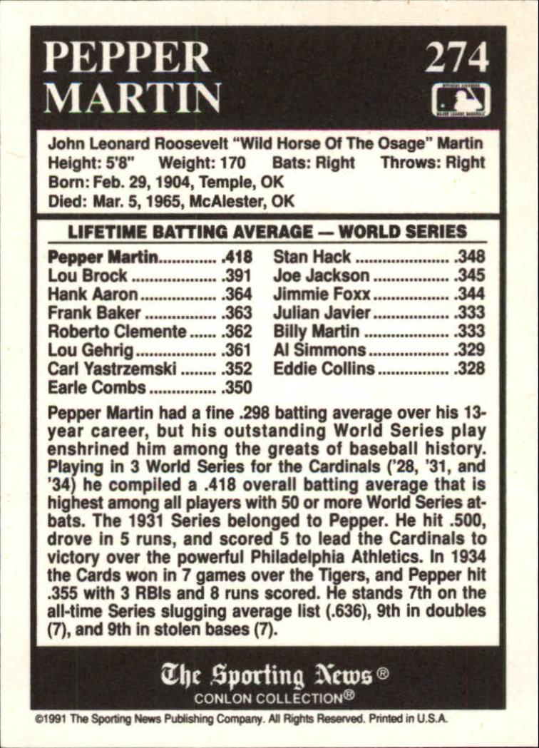 1991 Conlon TSN #274 Pepper Martin ATL back image