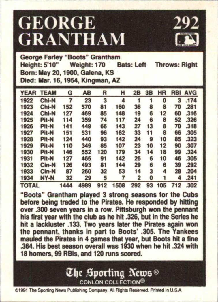 1991 Conlon TSN #292 George Grantham back image