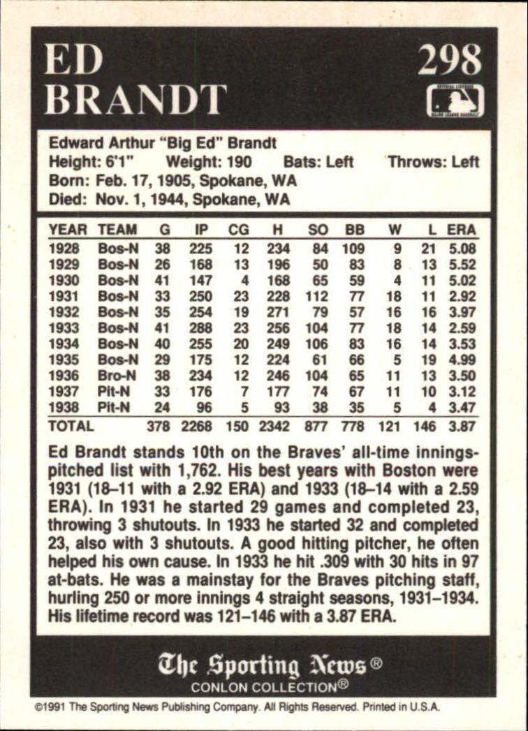 1991 Conlon TSN #298 Ed Brandt back image