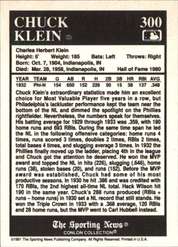 1991 Conlon TSN #300 Chuck Klein MVP back image