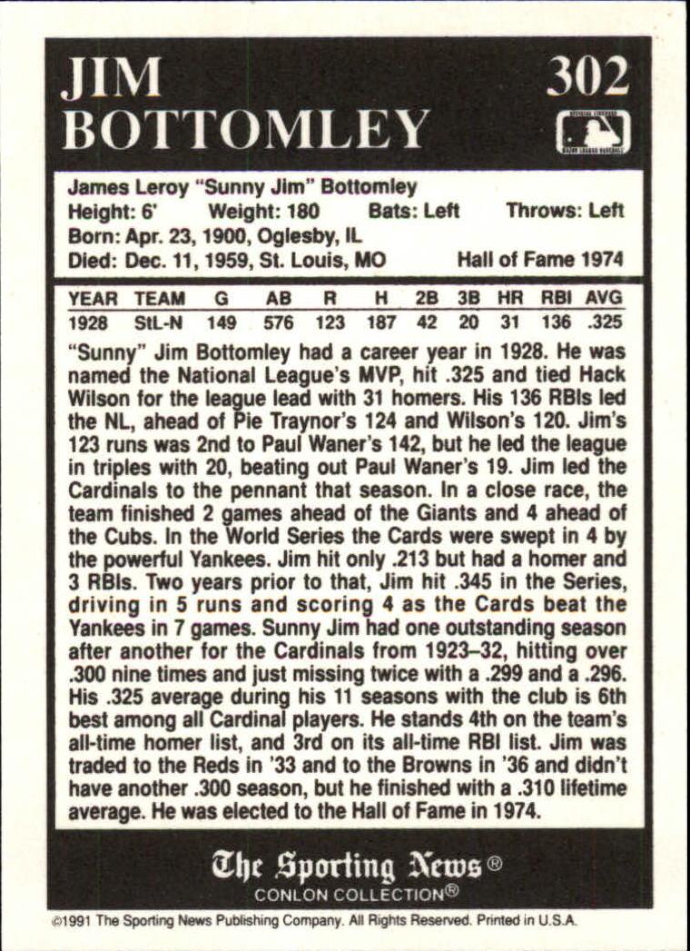 1991 Conlon TSN #302 Jim Bottomley MVP back image