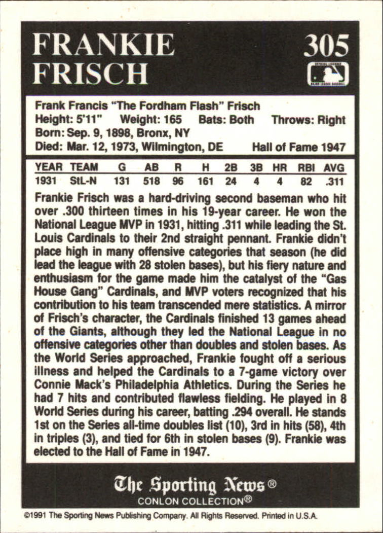 1991 Conlon TSN #305 Frank Frisch MVP back image