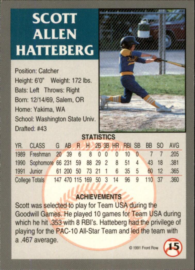 1991 Front Row Draft Picks #15 Scott Hatteberg back image