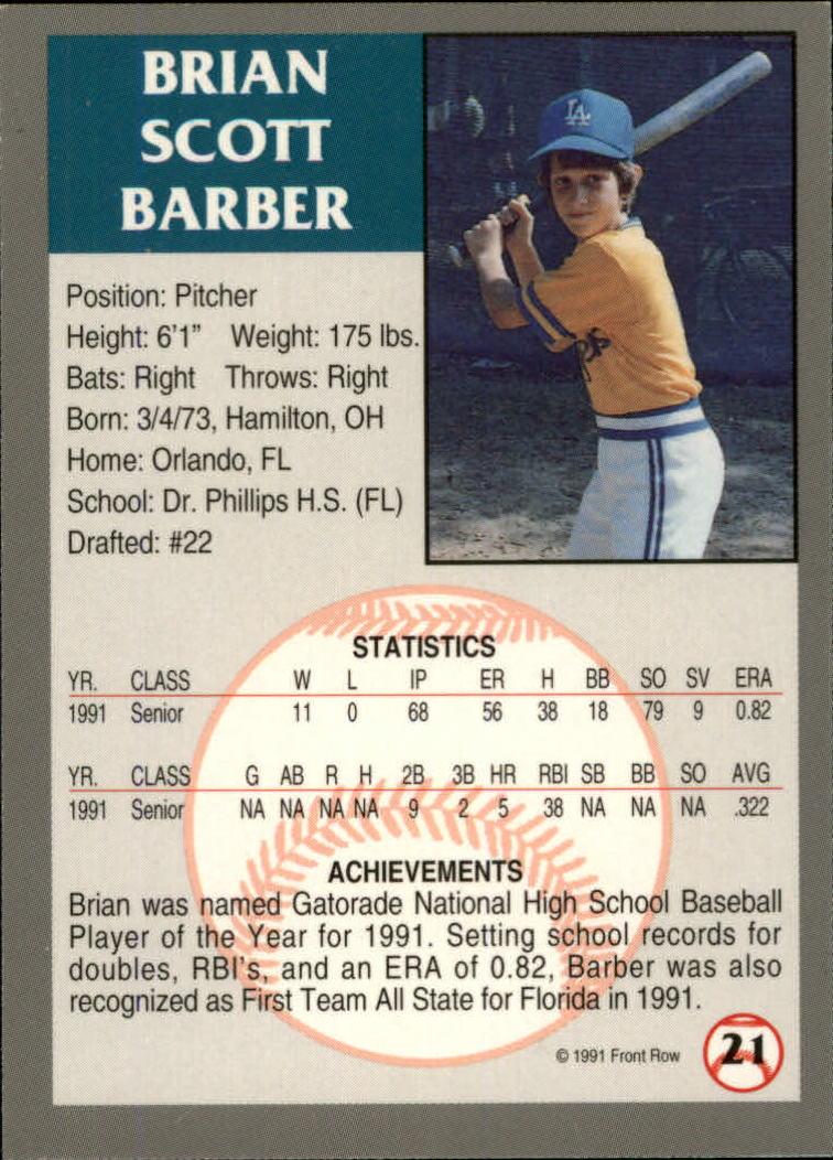 1991 Front Row Draft Picks #21 Brian Barber back image