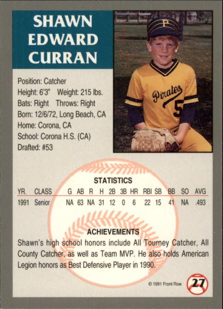 1991 Front Row Draft Picks #27 Shawn Curran back image