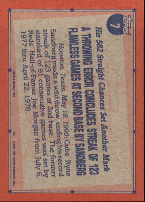 1991 Topps #7 Ryne Sandberg RB back image