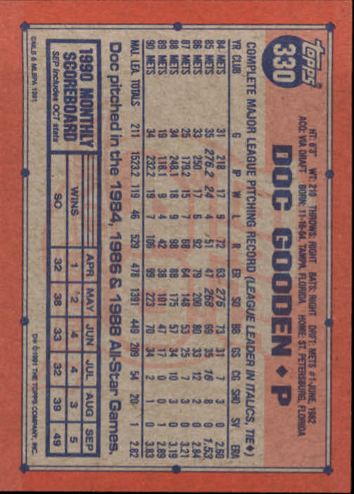 1991 Topps #330 Dwight Gooden back image