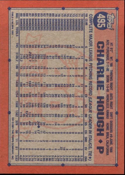 1991 Topps #495 Charlie Hough back image