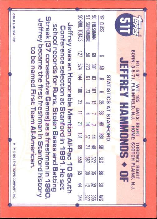 1991 Topps Traded #51T Jeffrey Hammonds USA RC back image