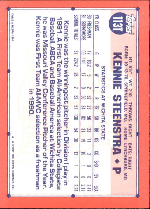 1991 Topps Traded #113T Kennie Steenstra USA RC back image