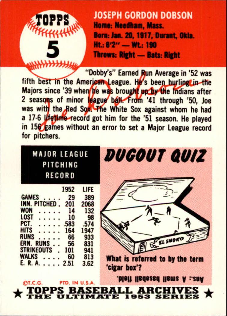 1991 Topps Archives 1953 #5 Joe Dobson back image