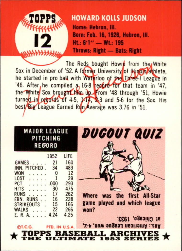 1991 Topps Archives 1953 #12 Howie Judson back image
