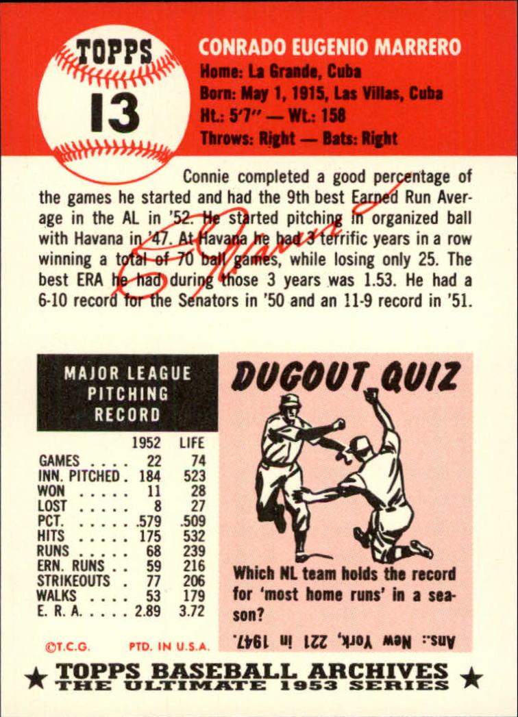 1991 Topps Archives '53 #13 Conrado Marrero back image