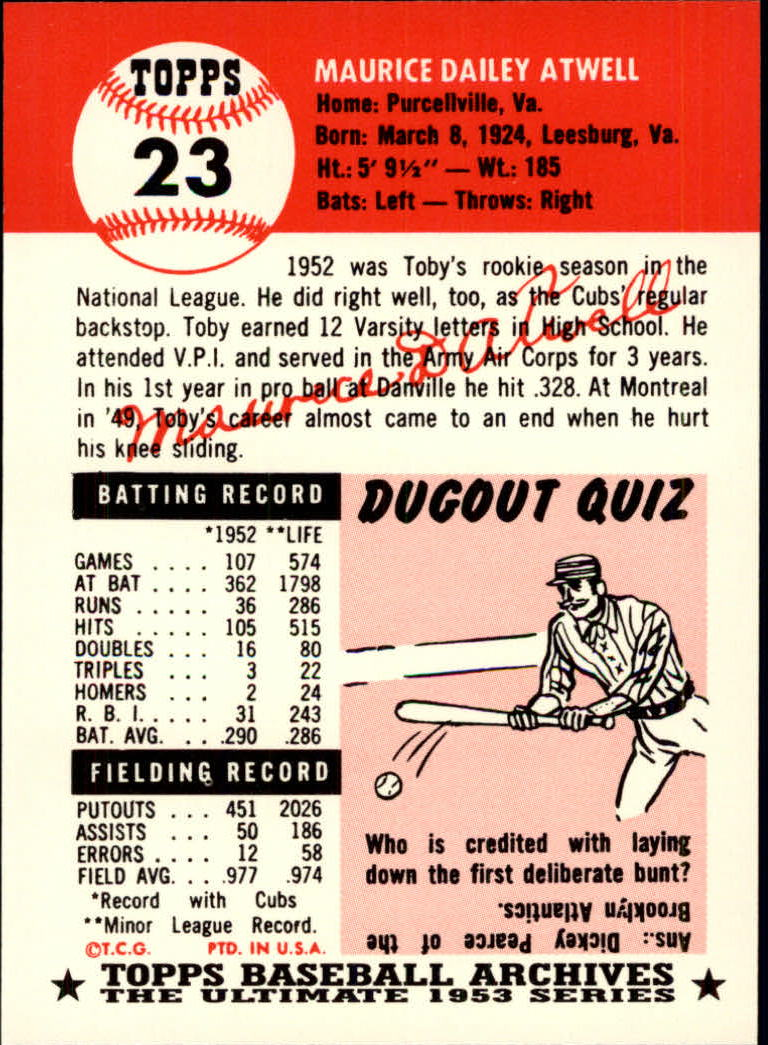 1991 Topps Archives 1953 #23 Toby Atwell back image