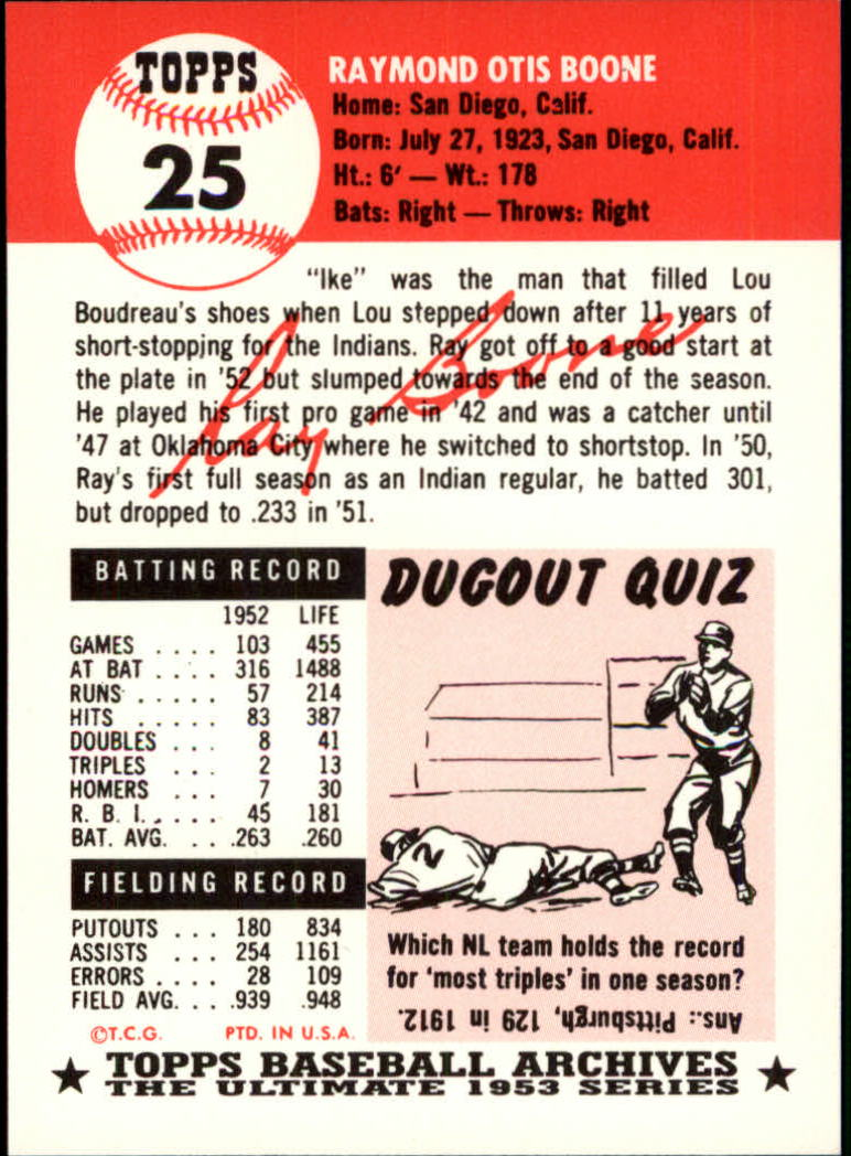 1991 Topps Archives 1953 #25 Ray Boone back image