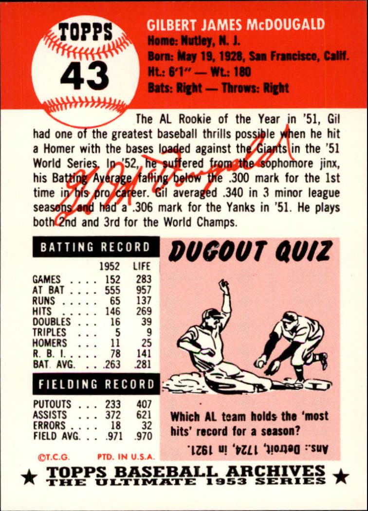 1991 Topps Archives 1953 #43 Gil McDougald back image
