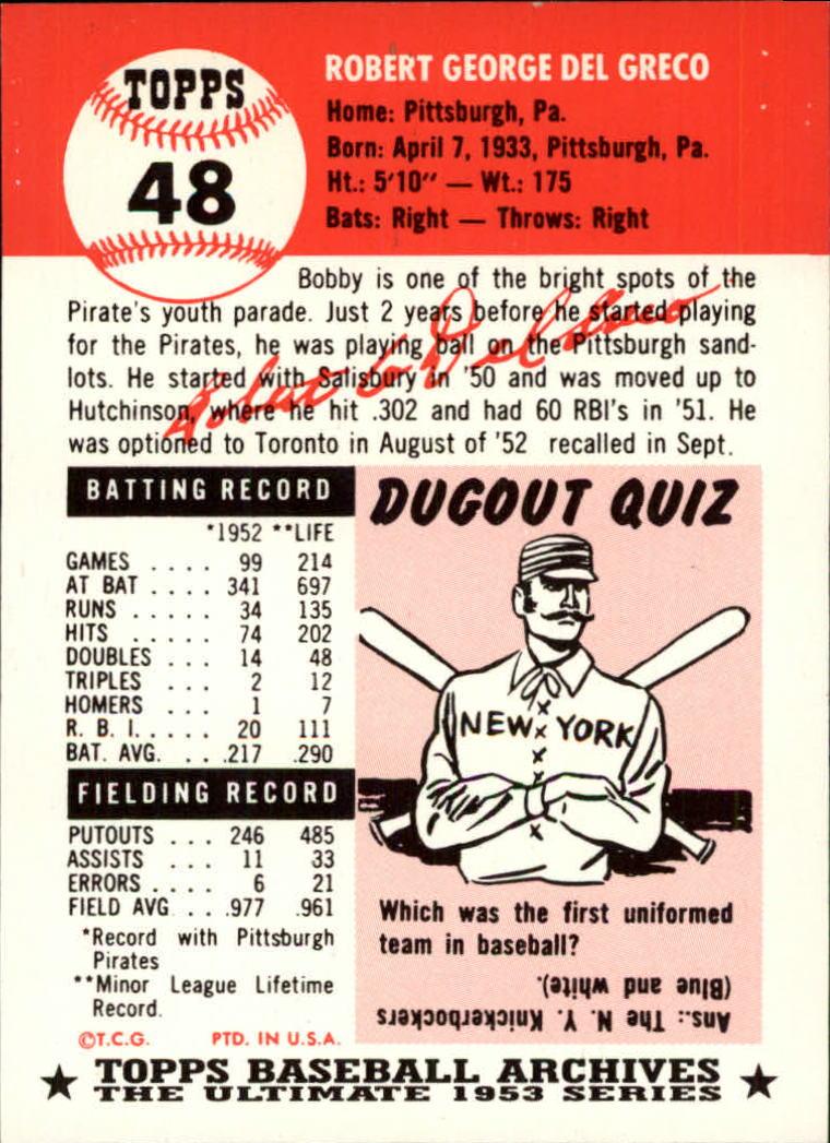 1991 Topps Archives 1953 #48 Bob Del Greco back image