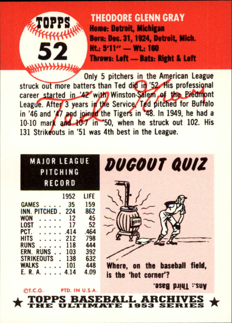 1991 Topps Archives 1953 #52 Ted Gray back image