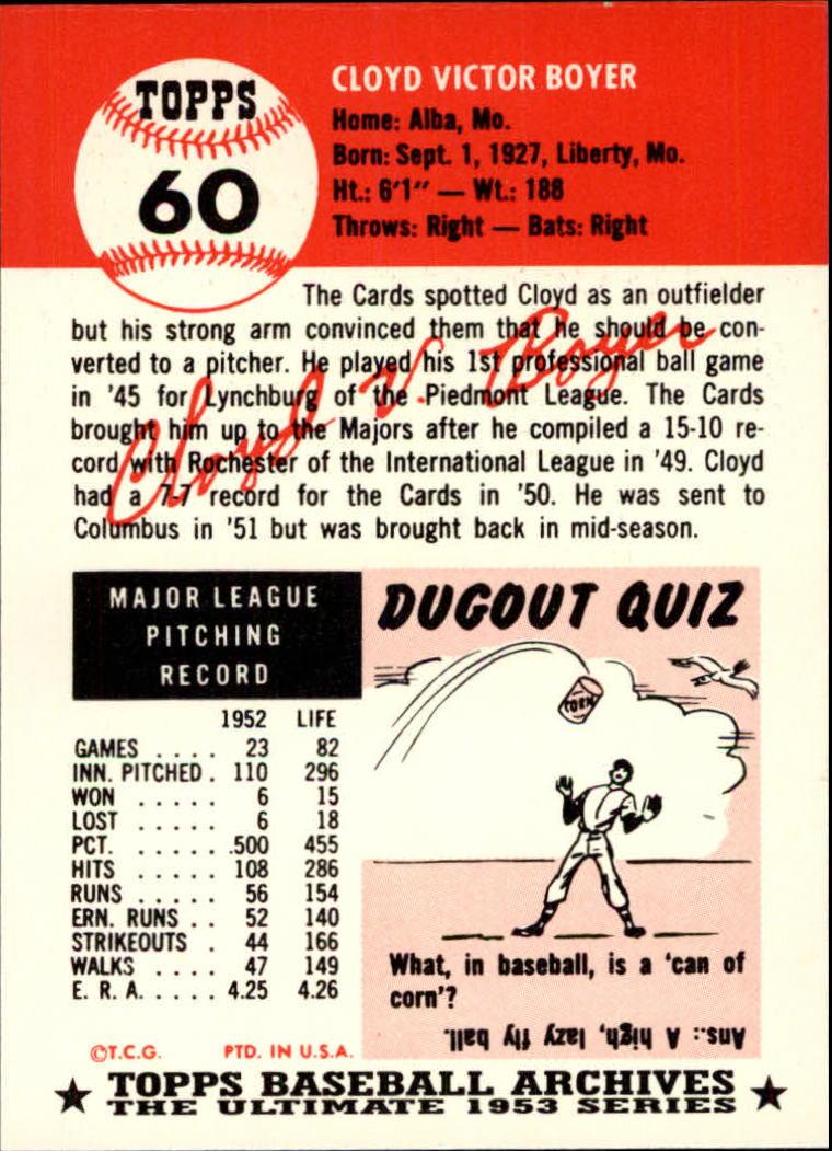 1991 Topps Archives 1953 #60 Cloyd Boyer back image