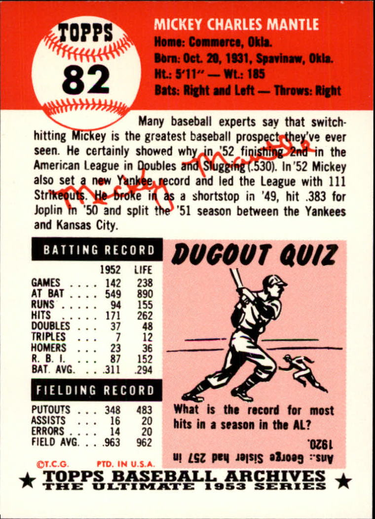 Details About 1991 Topps Archives 1953 82 Mickey Mantle Card