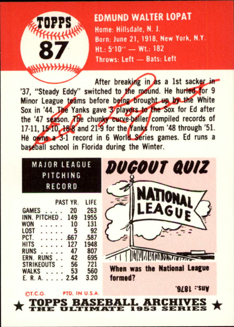 1991 Topps Archives 1953 #87 Ed Lopat back image