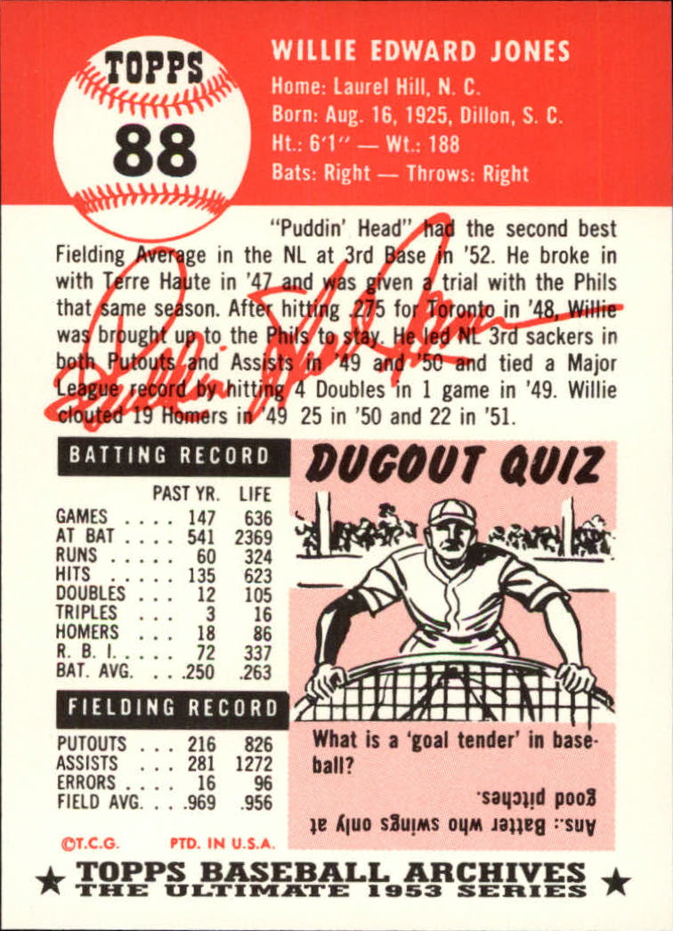 1991 Topps Archives 1953 #88 Willie Jones back image