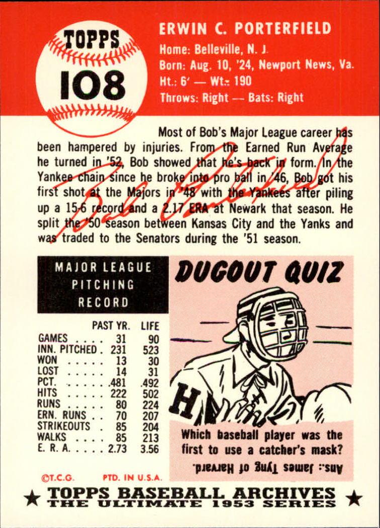 1991 Topps Archives 1953 #108 Bob Porterfield back image
