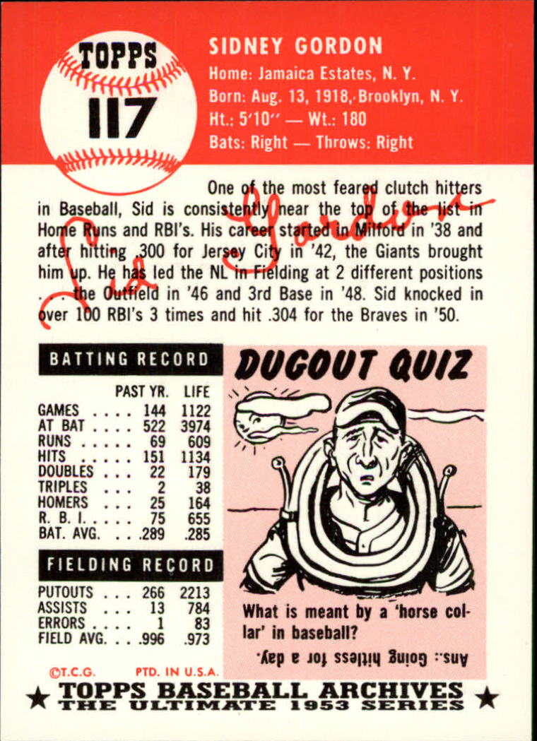 1991 Topps Archives 1953 #117 Sid Gordon back image